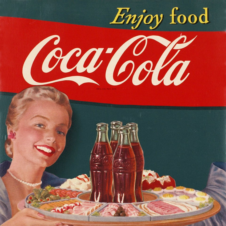 Vintage Poster Coca Cola Enjoy Food