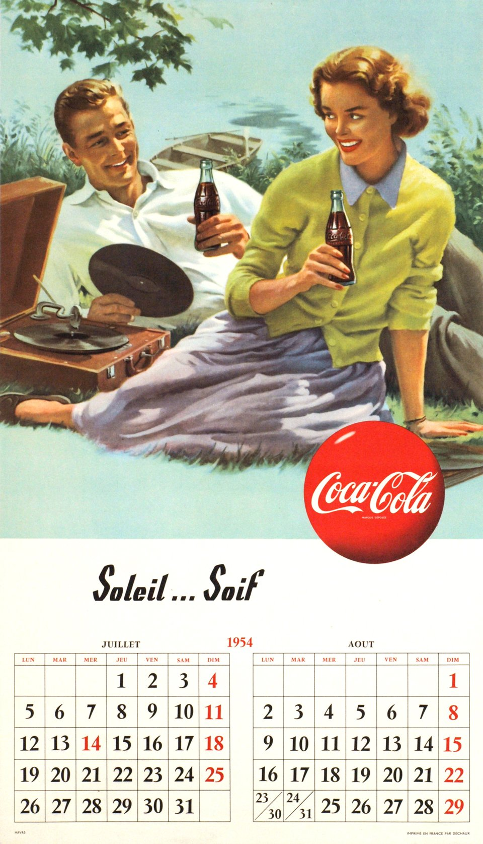 Coca-Cola, Soleil...Soif – Vintage poster –  ANONYME – 1954