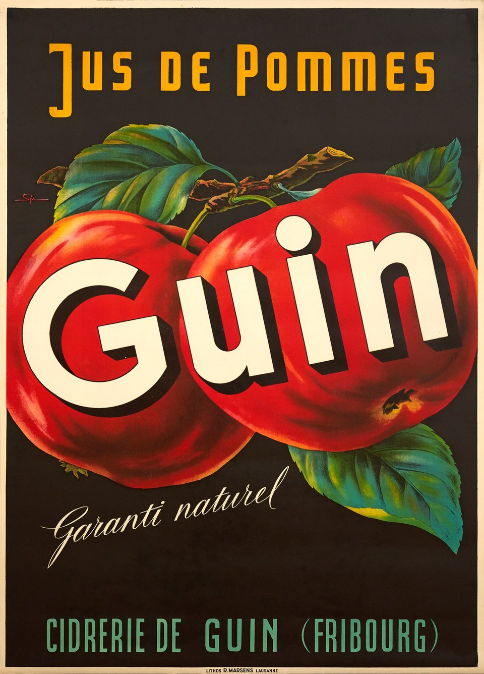 Guin, Jus de pommes – Affiche ancienne – Walther SPINNER – 1935