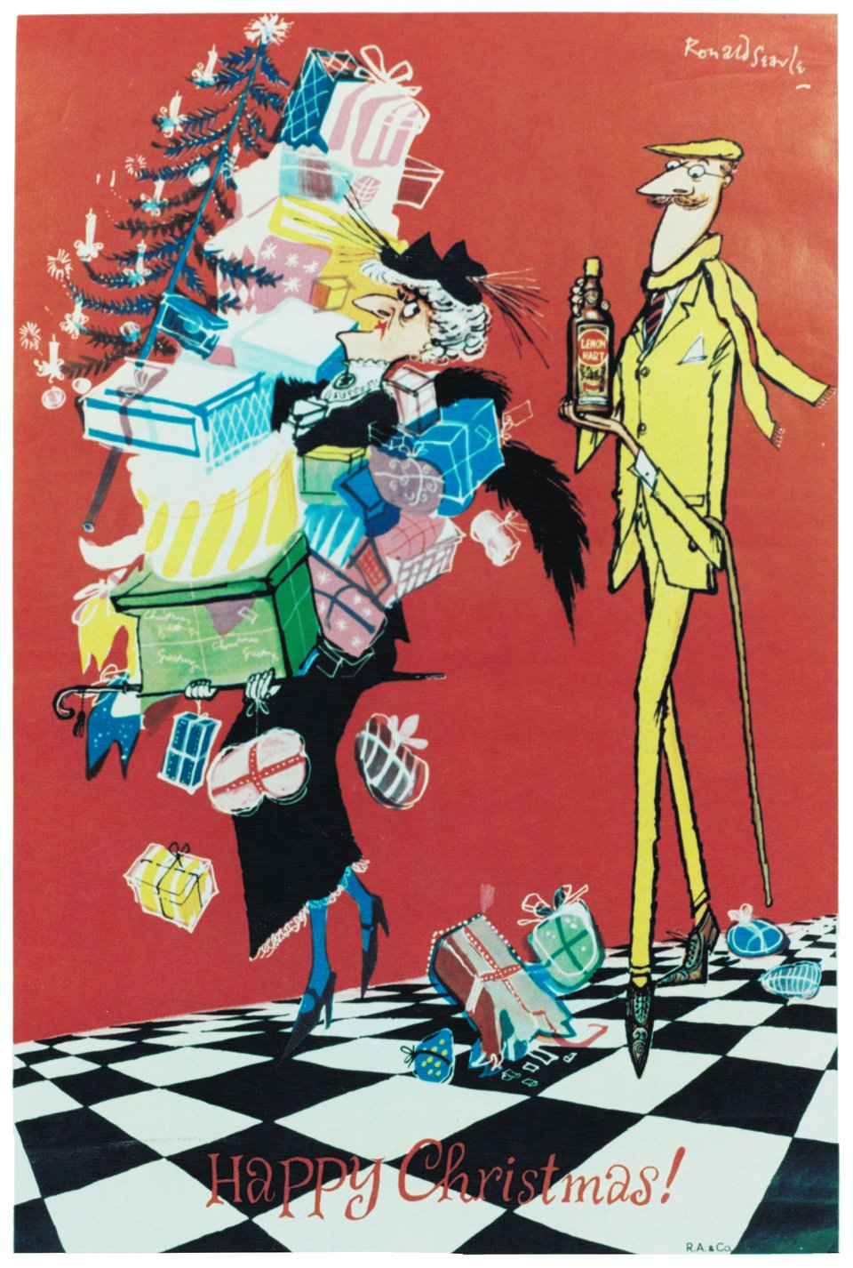 Lemon Hart, Happy Christmas! – Affiche ancienne – Ronald SEARLE – 1950