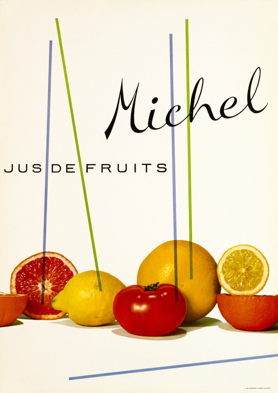 Michel, Jus de fruits - Prix de l'affiche Suisse 1958 – Affiche ancienne – Michel GALLAY – 1958