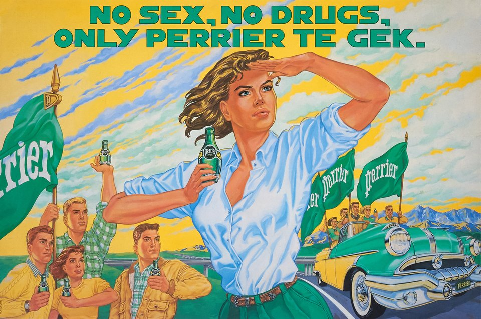 No Sex, No Drugs, Only Perrier te Gek – Vintage poster –  ANONYME – 1980
