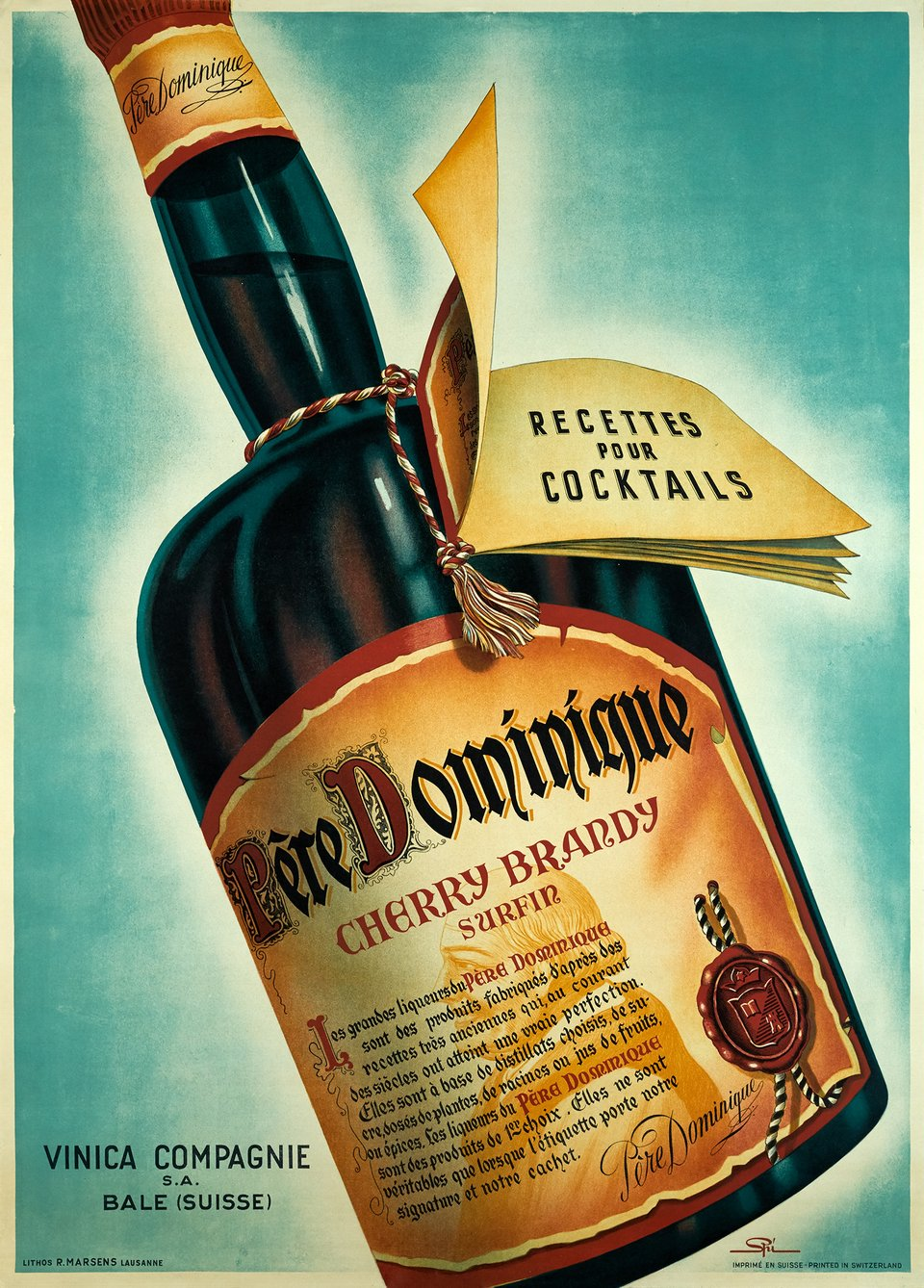 Père Dominique, Cherry Brandy – Affiche ancienne – Walther SPINNER – 1945