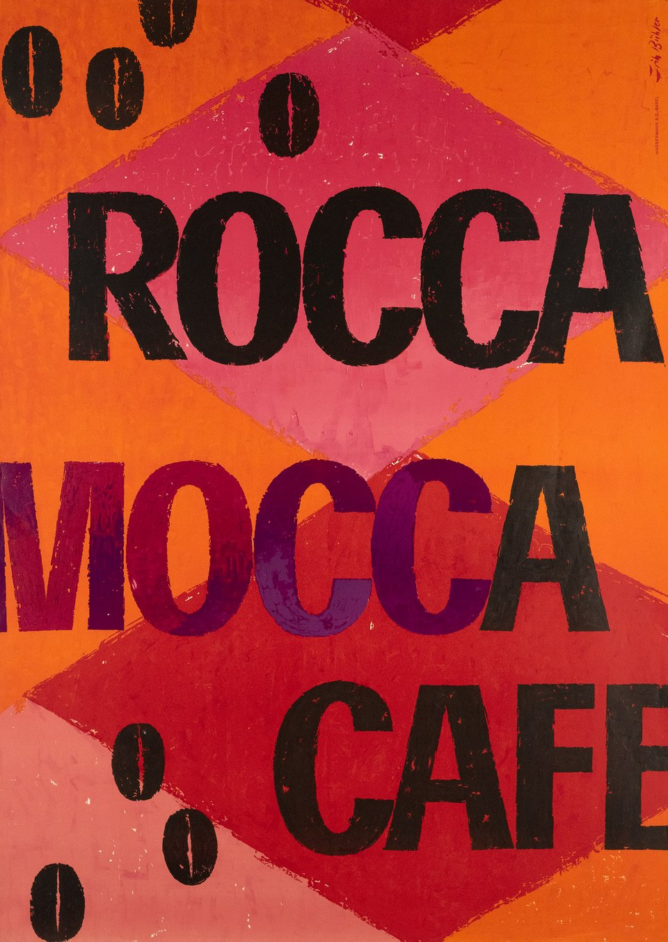 Rocca Mocca Cafe – Affiche ancienne – Fritz BUHLER – 1958