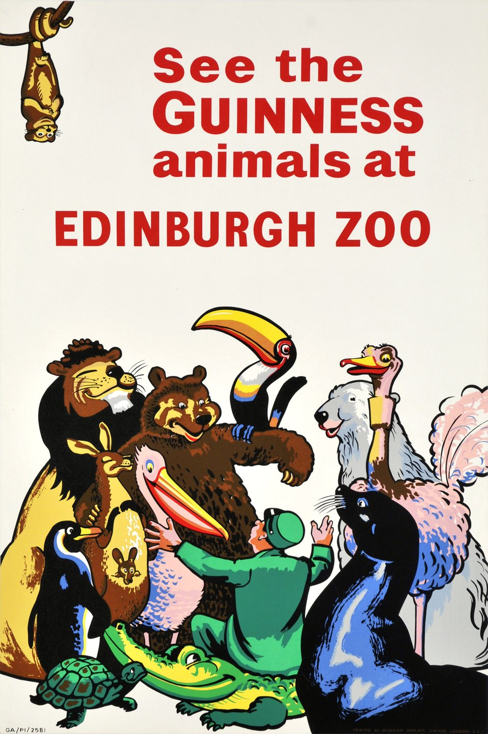 See the Guinness animals at Edinburgh Zoo. – Vintage poster – ANONYMOUS – 1960
