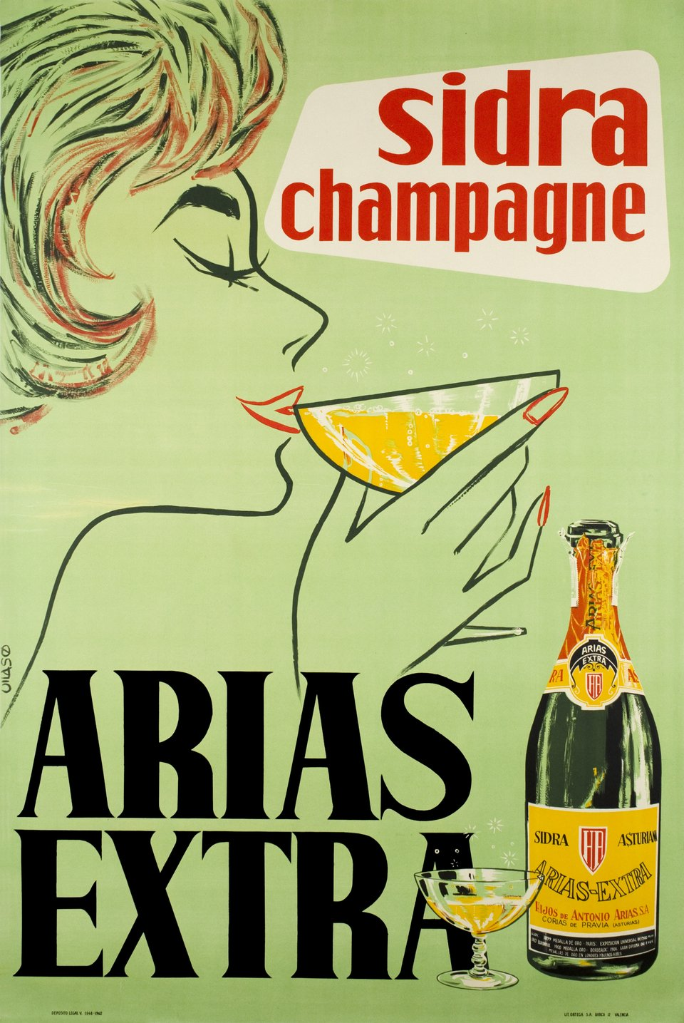 Sidra Champagne, Arias Extra – Affiche ancienne – VILASO – 1962