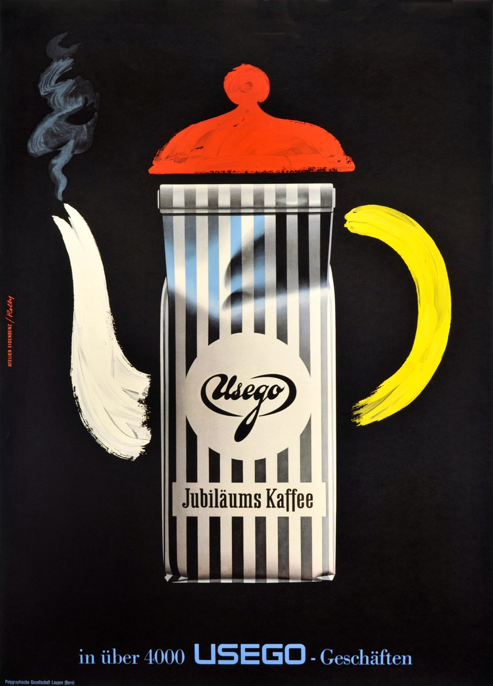 Usego Jubilaums kaffee – Affiche ancienne – Hermann EIDENBENZ, HansPeter ROLLY – 1959