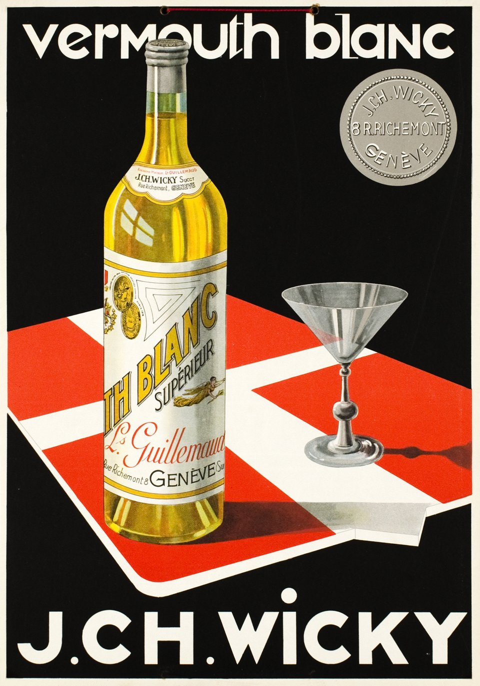 Vermouth blanc J.CH. Wicky – Vintage poster –  ANONYME – 1930