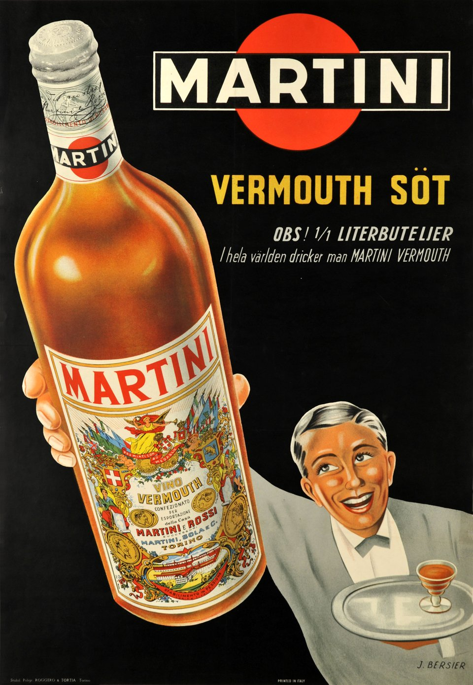Vermouth Martini rouge – Affiche ancienne – J. BERSIER – 1948