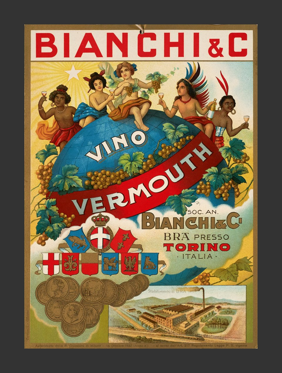 Vino Vermouth, Bianchi & C – Affiche ancienne –  ANONYME – 1932