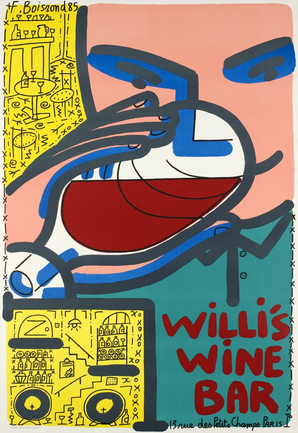 Willi's Wine Bar – Affiche ancienne – F. BOISROND – 1985