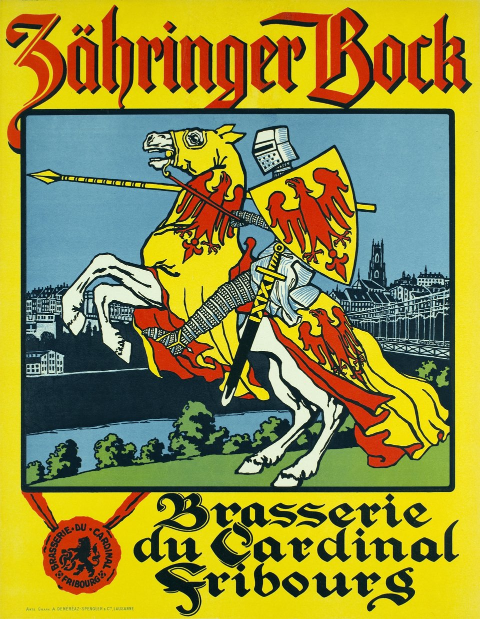 Zähringer Bock, Fribourg, Brasserie du Cardinal – Affiche ancienne –  ANONYME – 1910