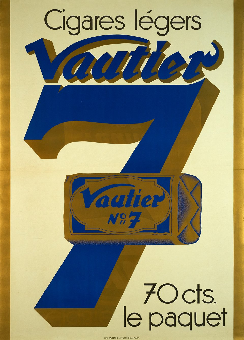 Cigares légers Vautier 7 – Vintage poster – ANONYMOUS – 1930