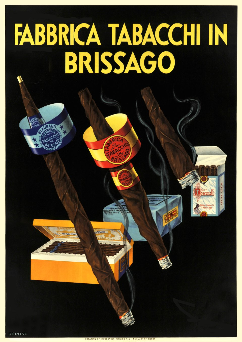Fabbrica Tabacchi in Brissago – Vintage poster – ANONYMOUS – 1935