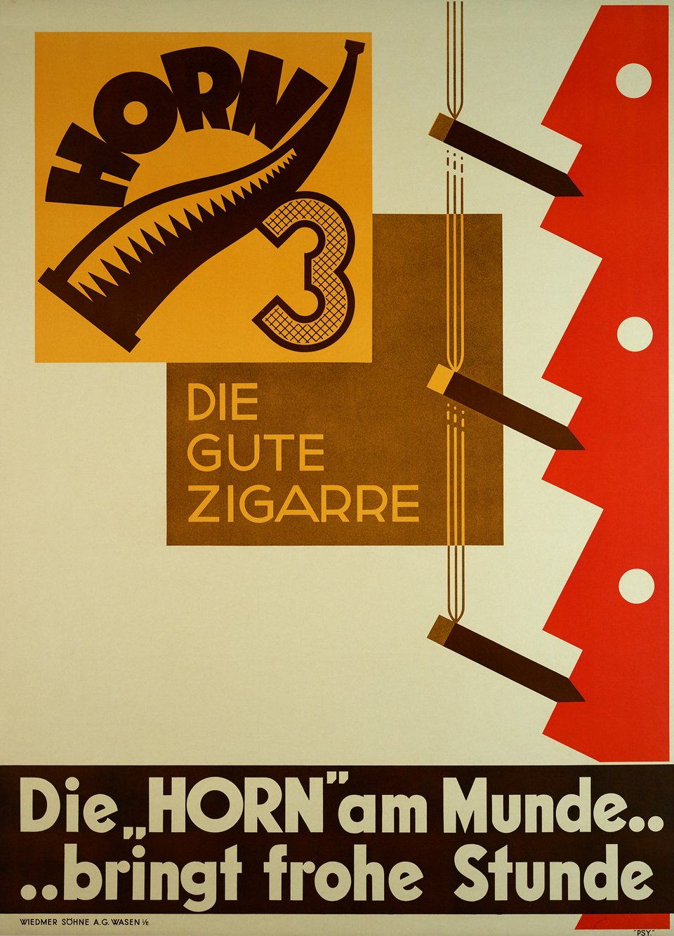 Horn Die gute Zigarre – Affiche ancienne – PSY – 1930