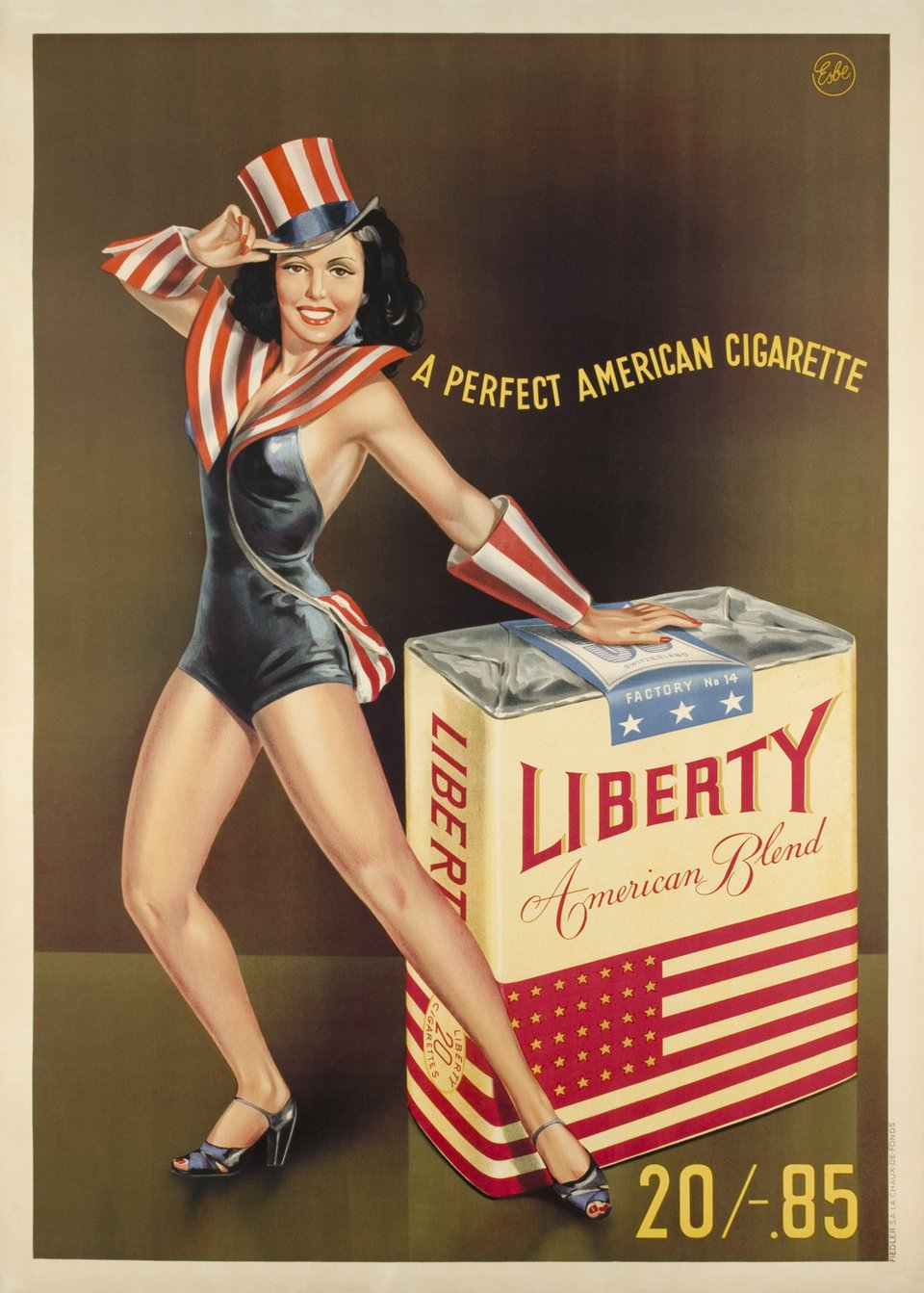 Liberty, a perfect american cigarette – Affiche ancienne –  ESBE – 1947