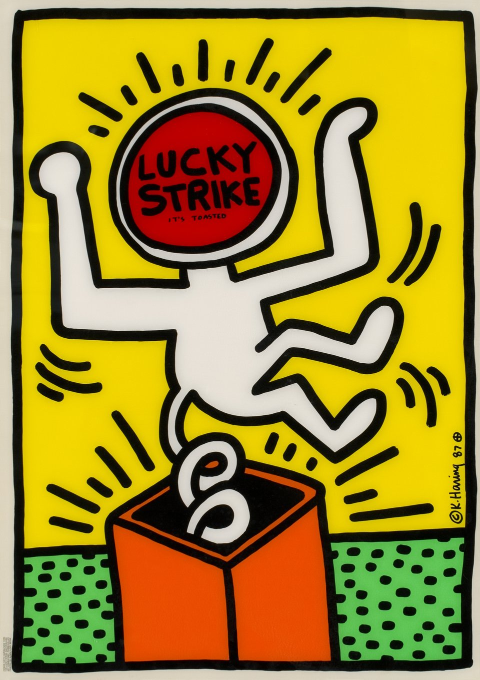 Lucky Strike, It's toasted – Vintage poster – Keith HARING – 1987