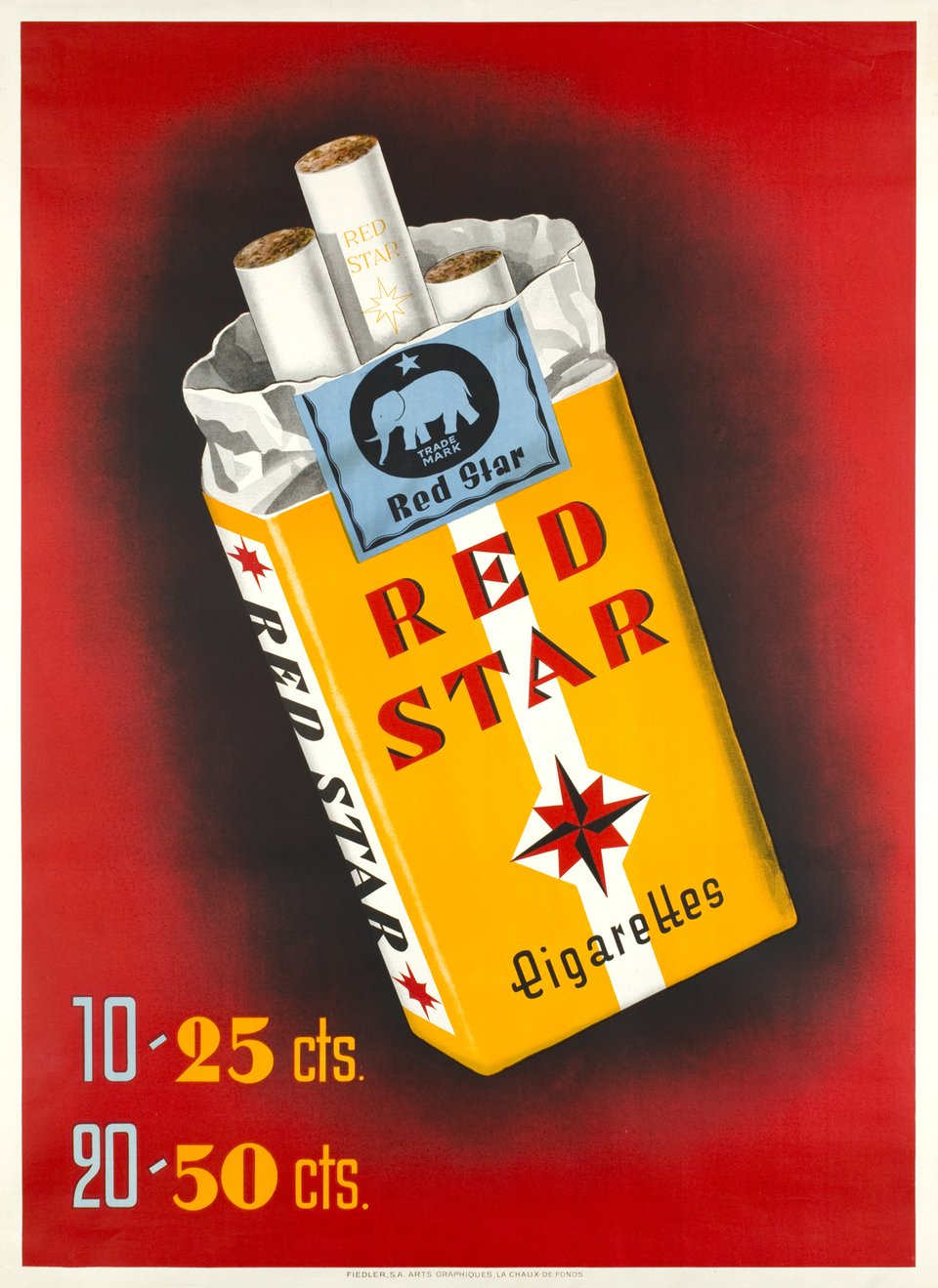 Red Star cigarettes – Vintage poster –  ANONYME – 1940