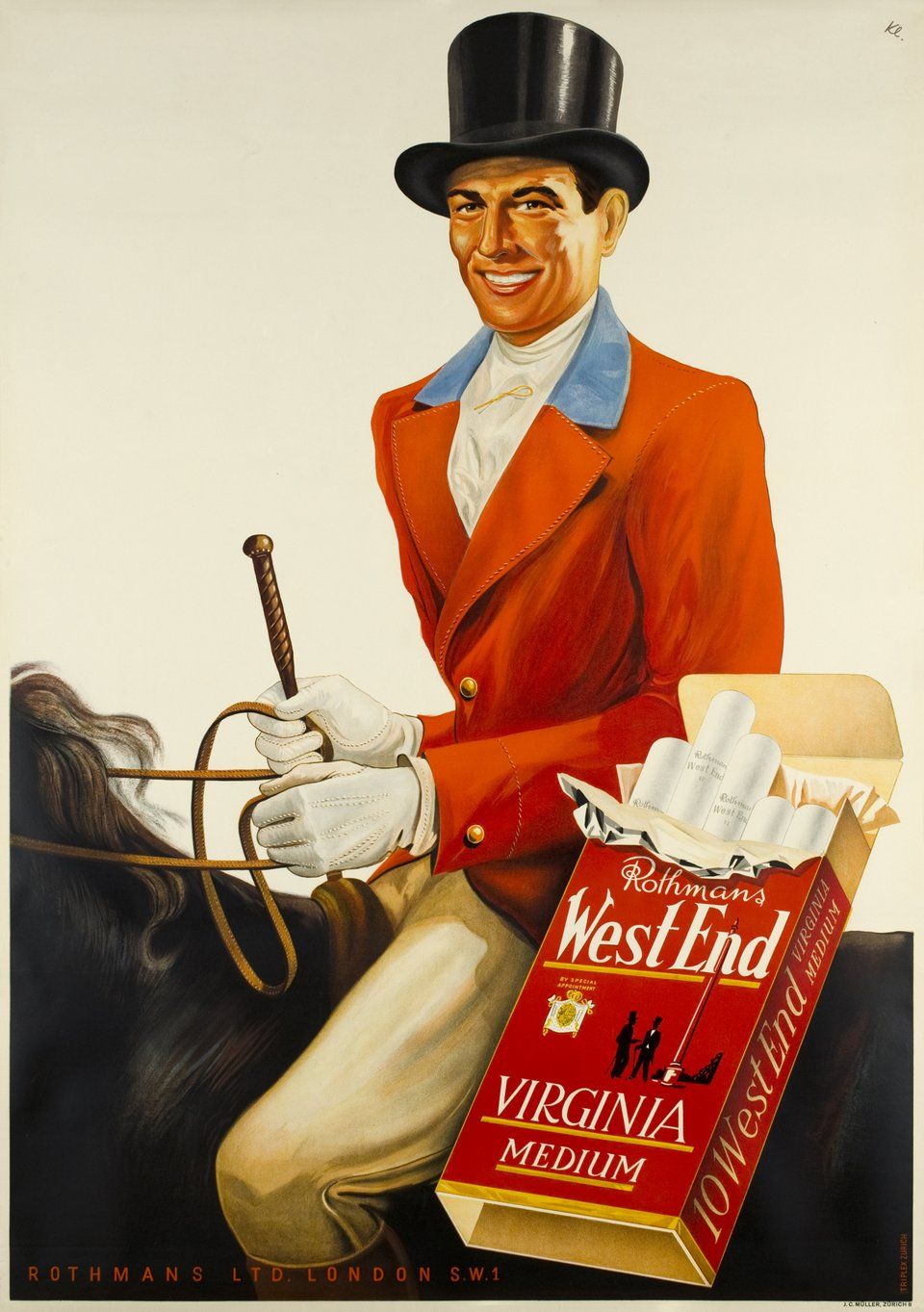 Rothmans West End, Virgina medium – Vintage poster – H KLOCHLER – 1946