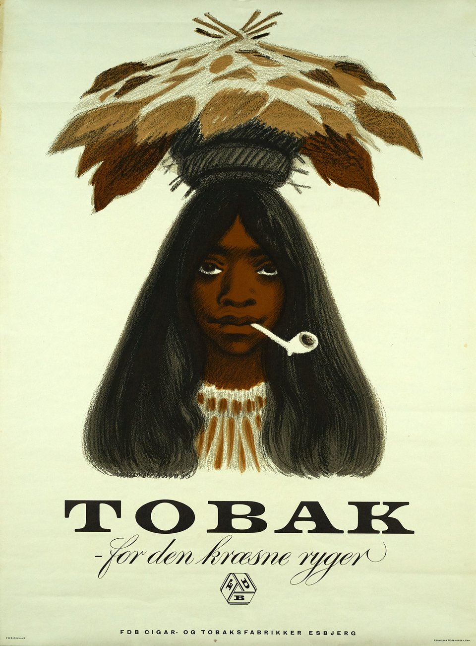 Tobak, For den kroesne ryger – Affiche ancienne – Hanson APPER – 1955