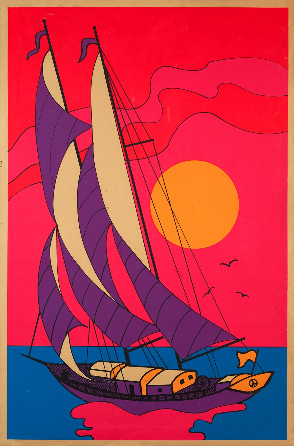 Peace & love boat – Affiche ancienne –  ANONYME – 1970