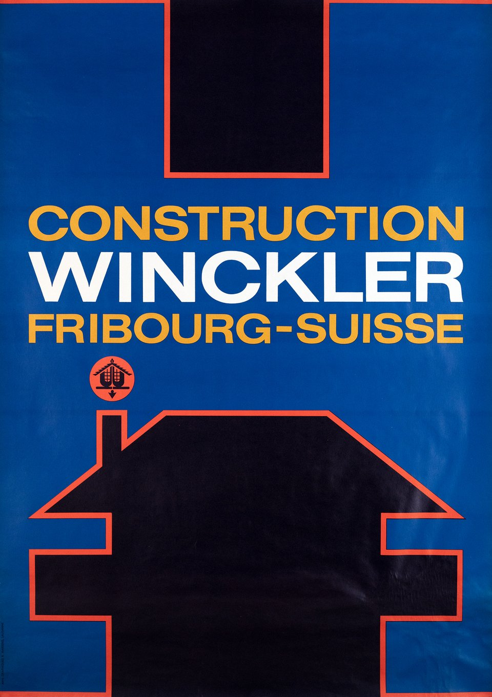 Construction Winckler, Fribourg – Vintage poster – ANONYME – 1960