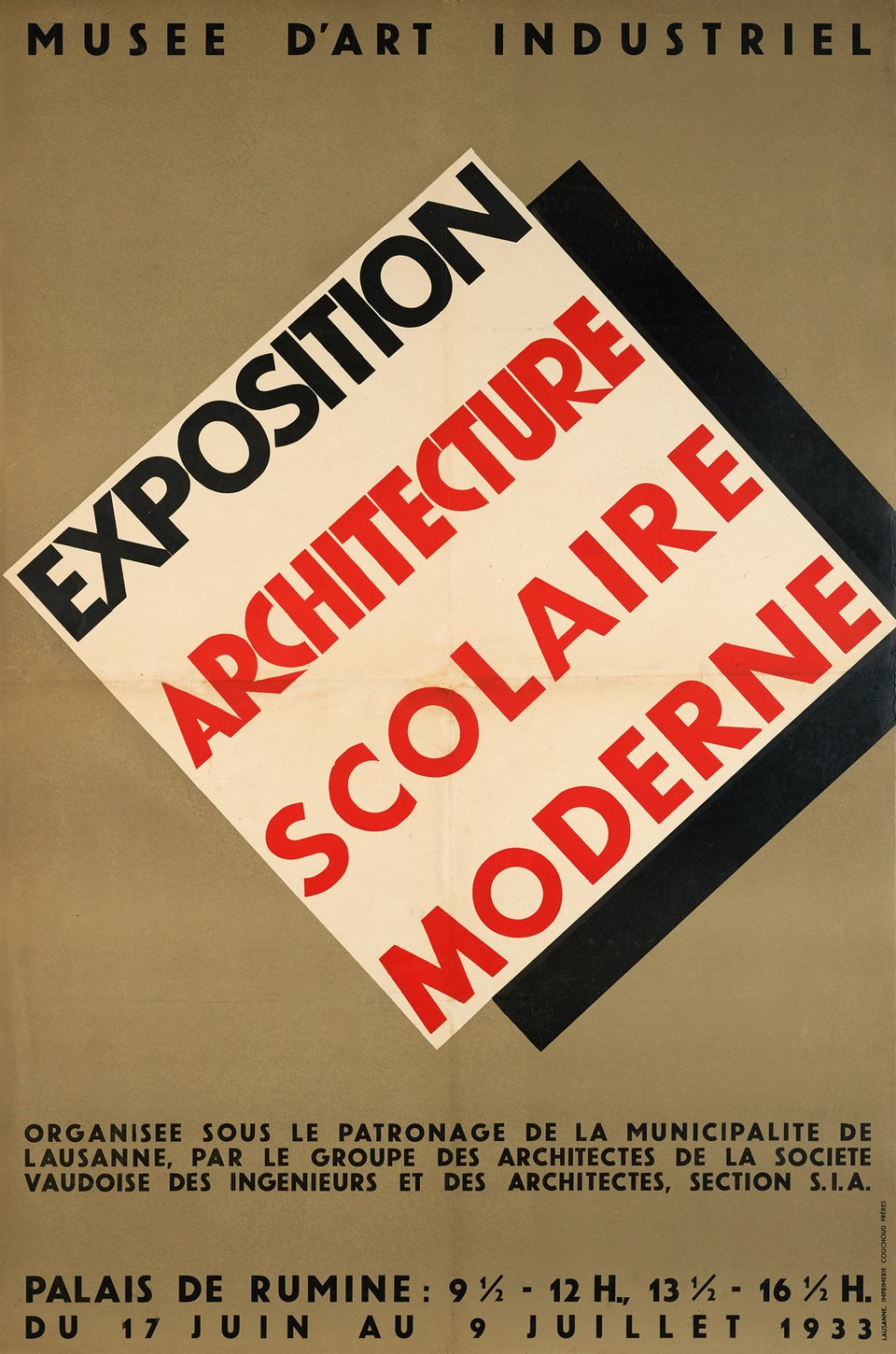 Exposition d'architecture scolaire moderne, Lausanne – Vintage poster – ANONYME – 1933