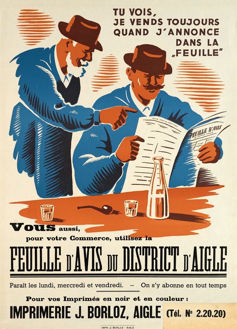 Feuille d'Avis du District d'Aigle – Vintage poster – ANONYME – 1930