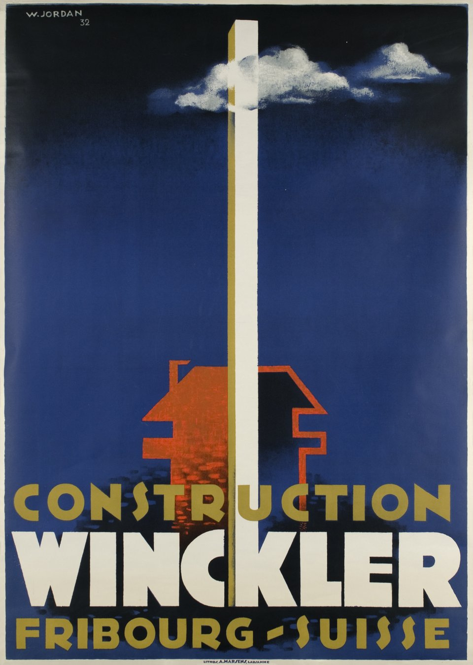 Fribourg, Construction Winckler, Suisse – Affiche ancienne – Willy JORDAN – 1932