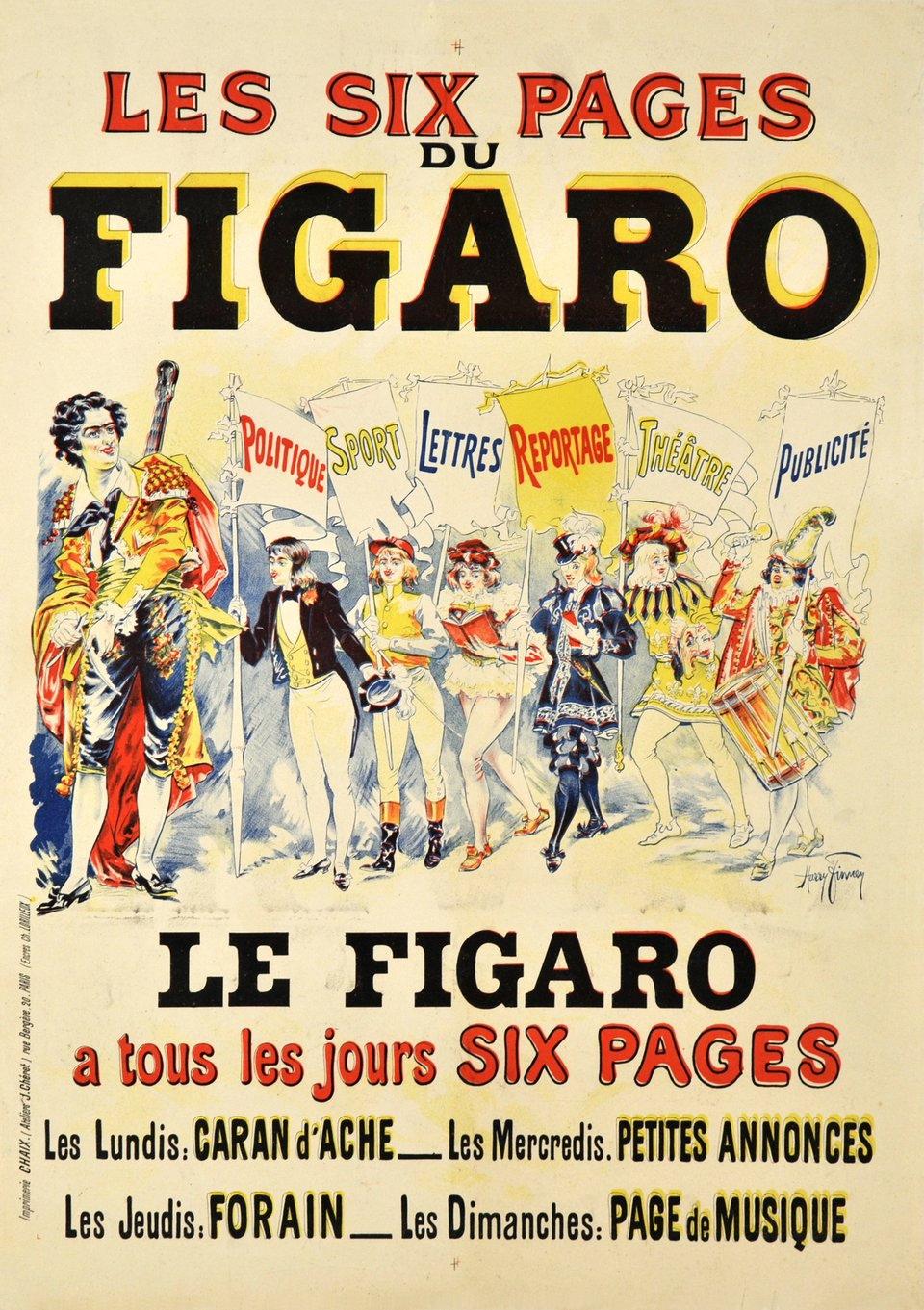 Les six pages du Figaro – Affiche ancienne – Harry FINNEN – 1900