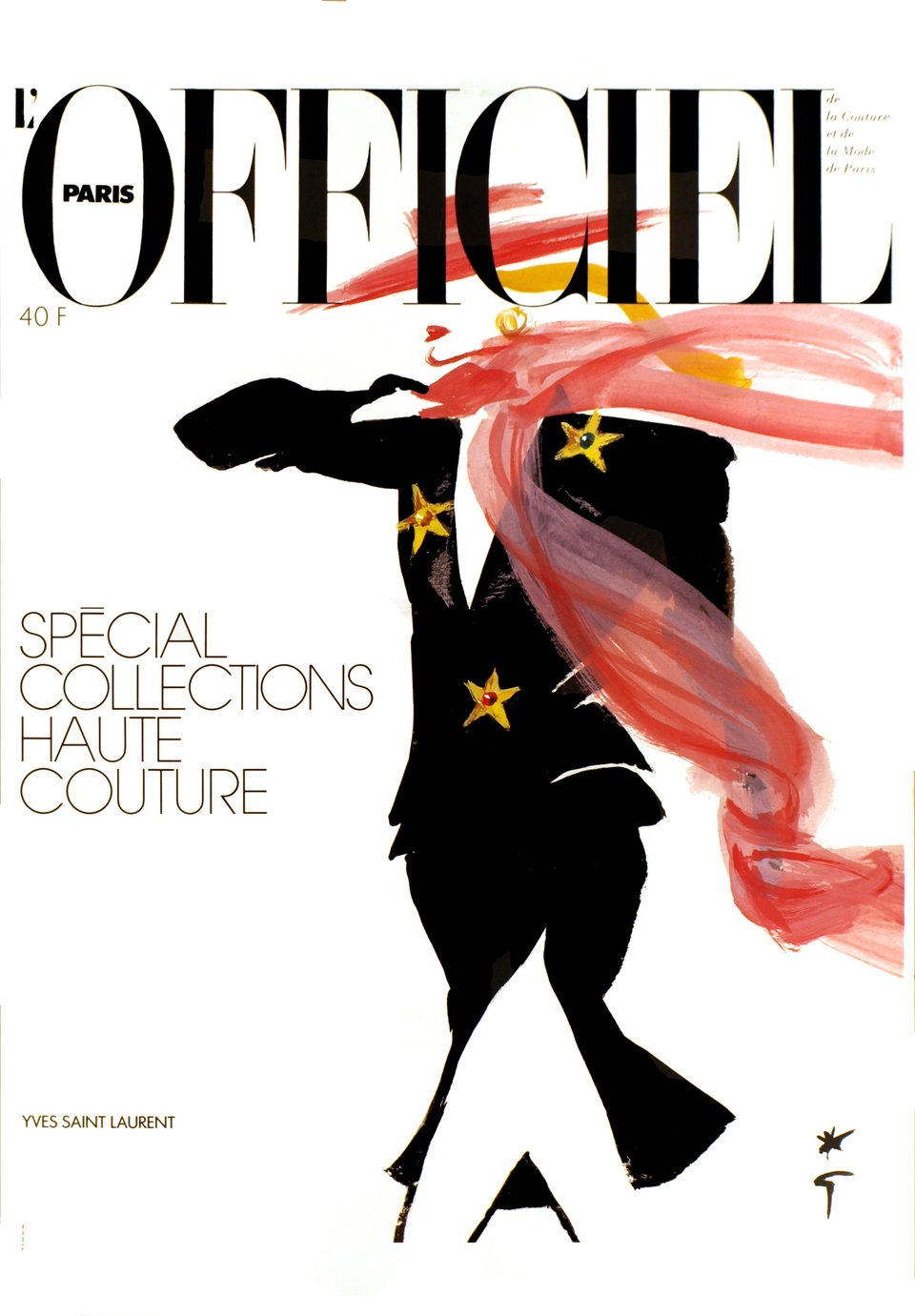 L'Officiel Paris, Spécial collections Haute Couture - Yves Saint Laurent – Vintage poster – René GRUAU – 1989