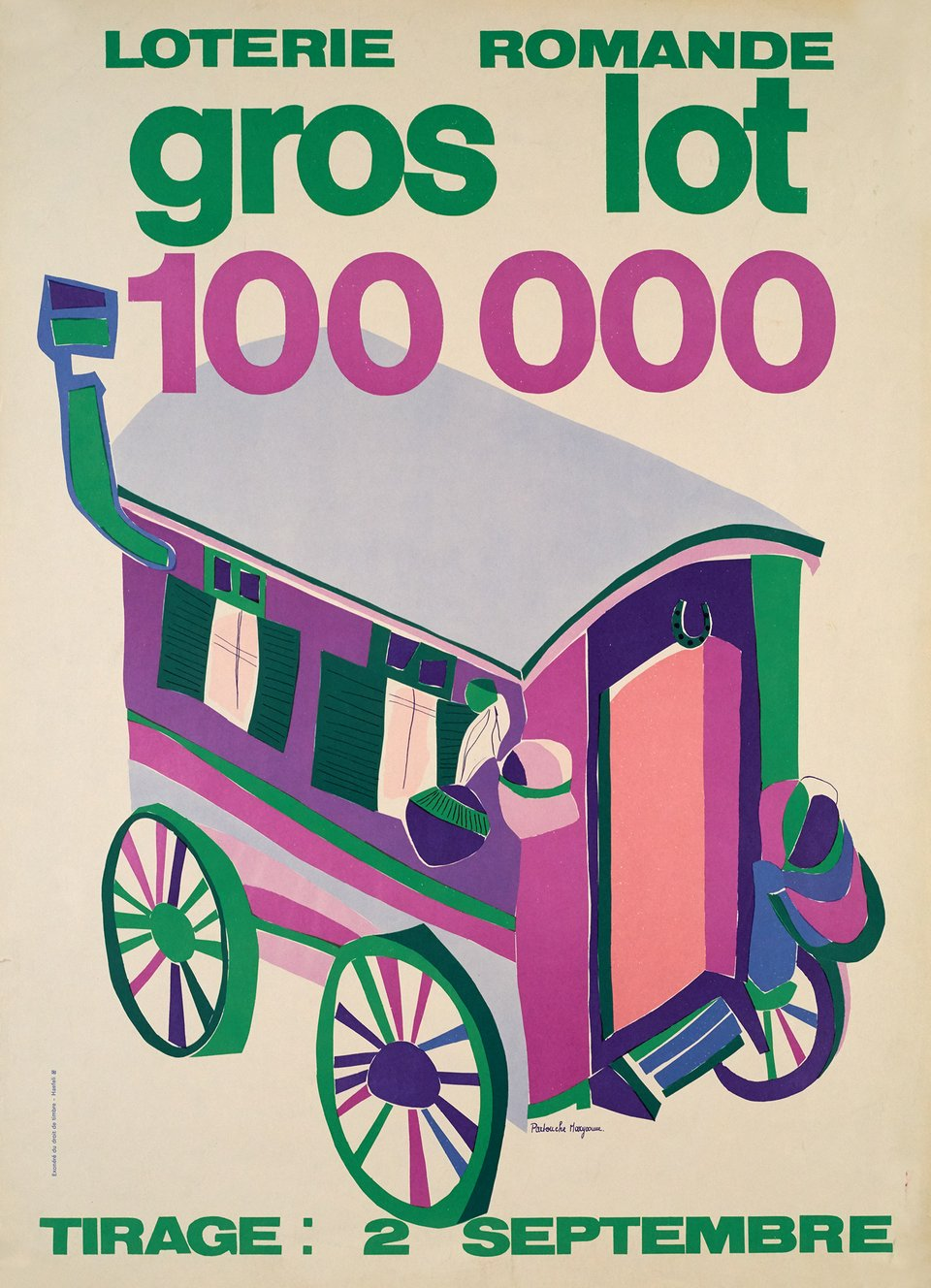 Loterie Romande, Gros Lot 100 000 – Vintage poster – Maryvonne PARTOUCHE – 1966