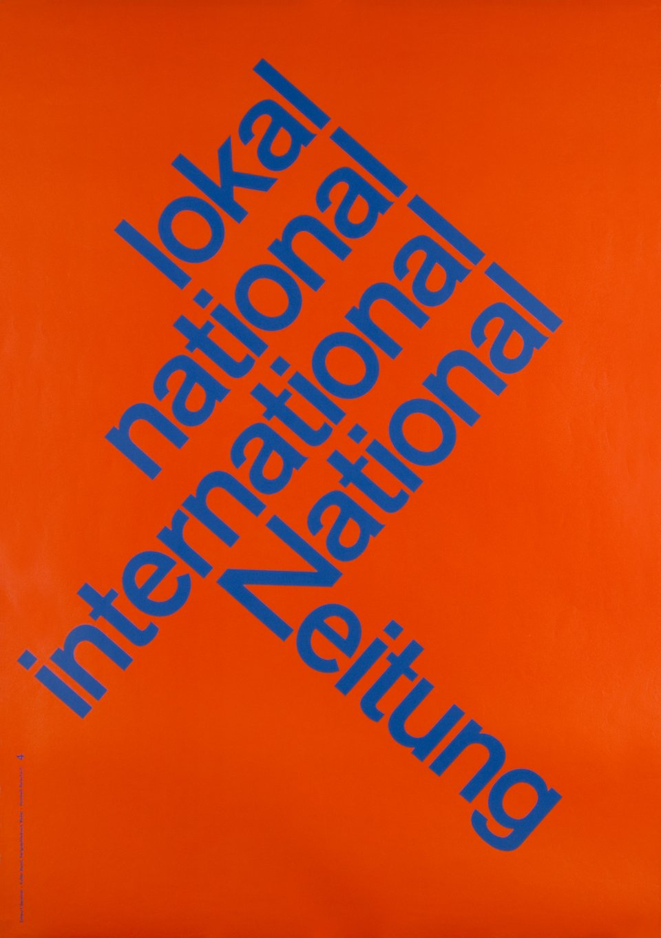 National Zeitung lokal national international – Vintage poster – Karl GERSTNER – 1960