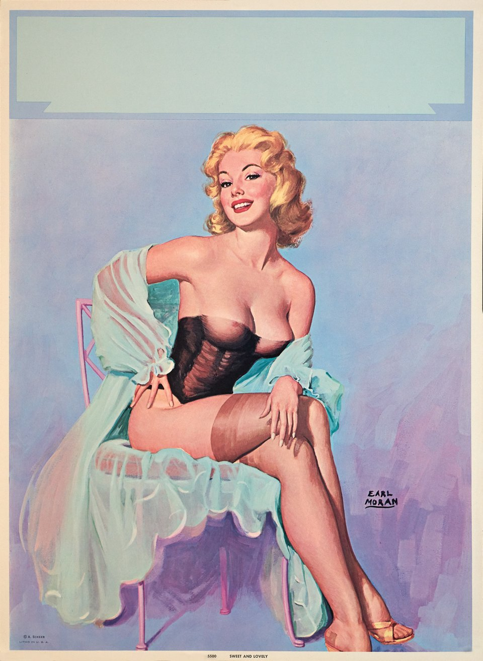 Pin-Up, Assise – Affiche ancienne – Earl MORAN – 1952