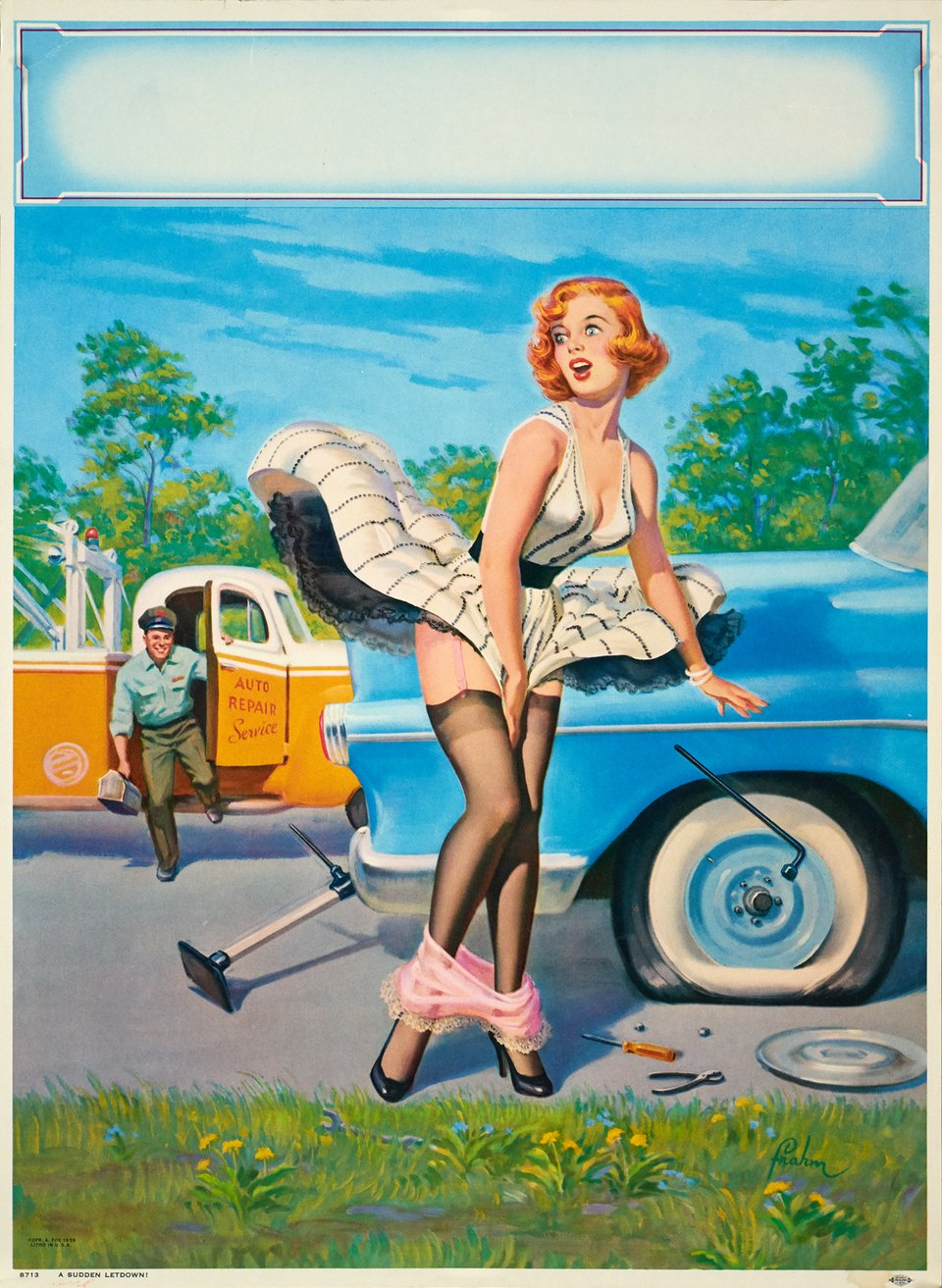 Pin-Up in the wind – Affiche ancienne – Art FRAHM – 1952