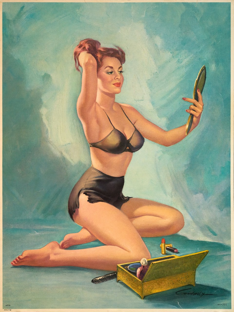 PIN-UP with a miror – Affiche ancienne – Howard CONNELLY – 1952