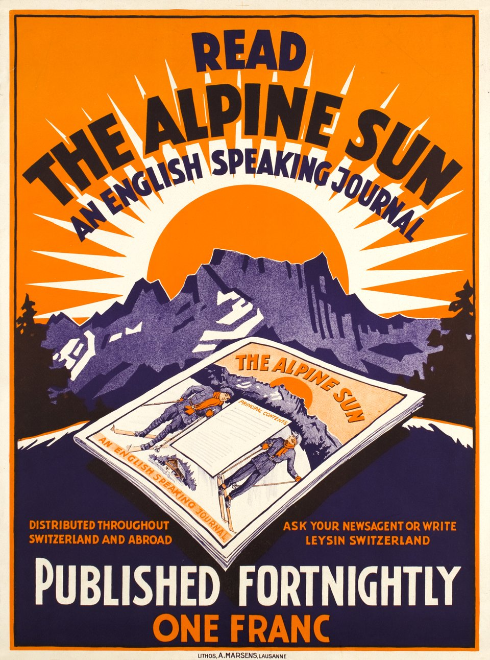 Read the Alpine Sun, an english speaking journal – Affiche ancienne – ANONYME – 1930