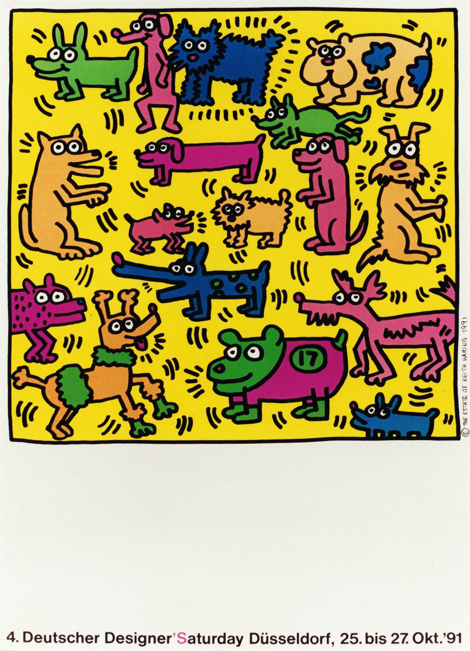 4. Deutscher Designer's Saturday Düsseldorf – Vintage poster – Keith HARING – 1991