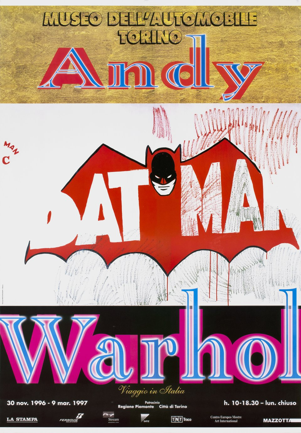 Andy Warhol, Batman, Museo dell'automobile Torino, 30 nov. 1996 - 9 mars 1997 – Affiche ancienne – Andy WARHOL – 1996