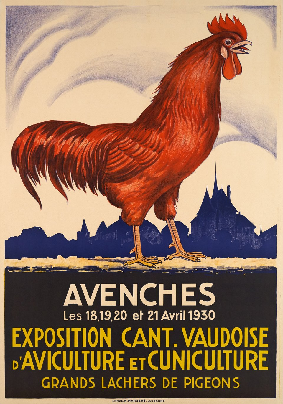 Avenches, Exposition Cant. Vaudoise, Aviculture et Cuniculture – Affiche ancienne –  ANONYME – 1930