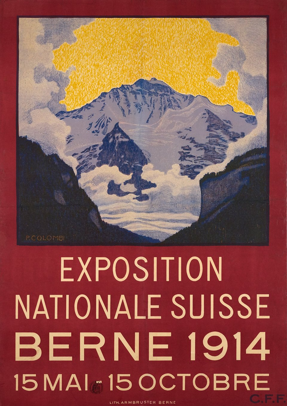 Berne, Exposition Nationale Suisse – Affiche ancienne – Plinio COLOMBI – 1914