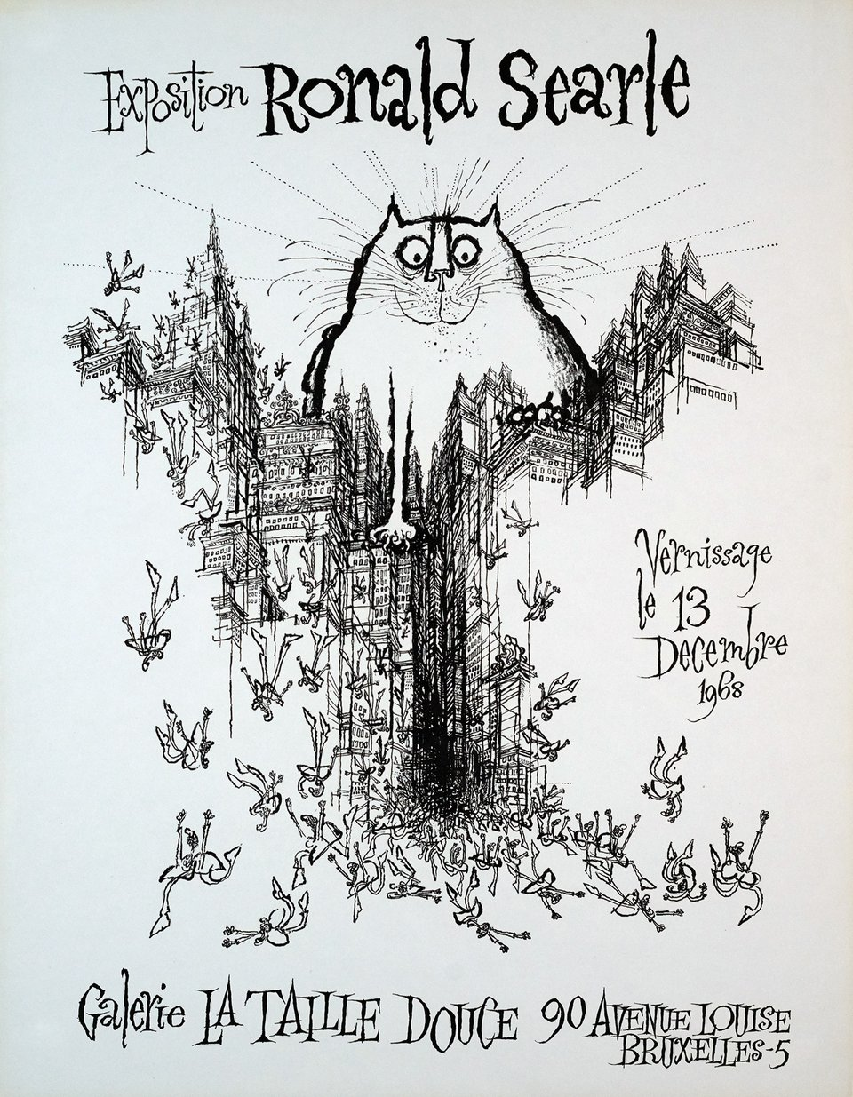 Exposition Ronald Searle – Affiche ancienne – Ronald SEARLE – 1968