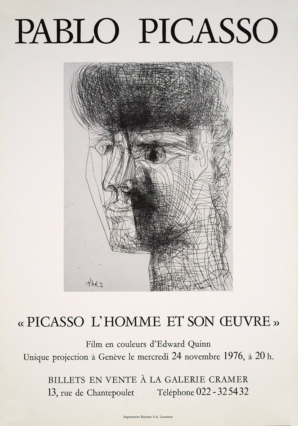 "Film ""Picasso, l'homme et son oeuvre"" Galerie Cramer – Affiche ancienne – Pablo PICASSO – 1976"