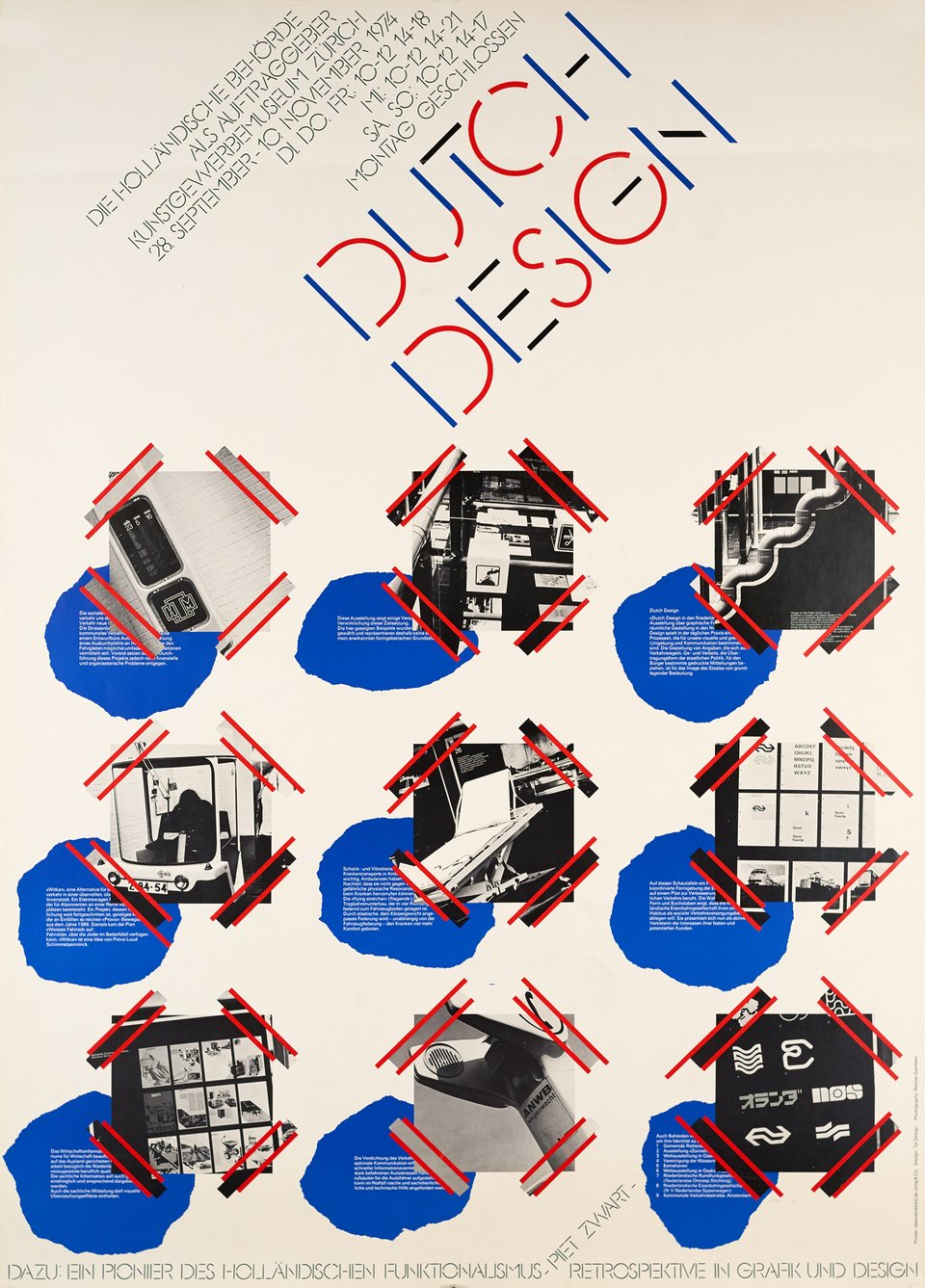 Kunstgewerbe Museum Zürich, Dutch Design – Affiche ancienne – Gert DUMBAR – 1974