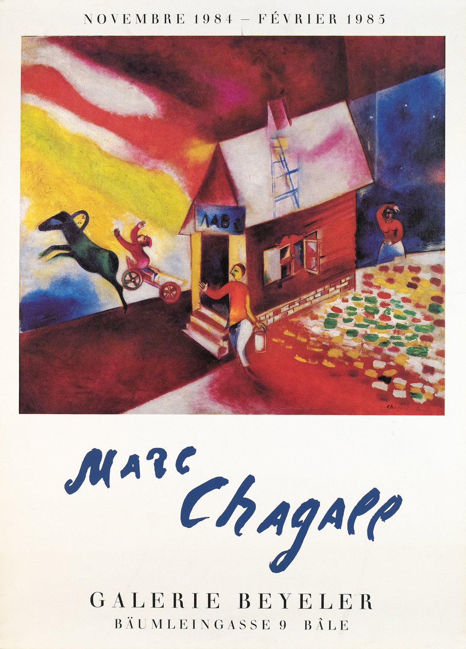 Marc Chagall, Galerie Beyeler – Affiche ancienne – Marc CHAGALL – 1984