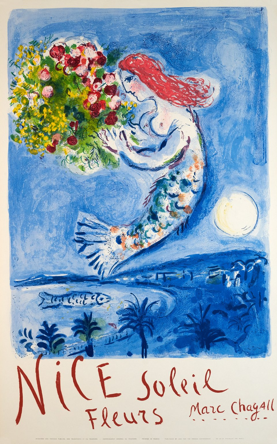 Nice, Soleil Fleurs Marc Chagall – Vintage poster – Marc CHAGALL – 1962