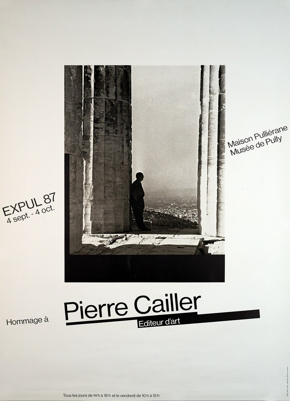 Pierre Cailler, Musée de Pully – Affiche ancienne – Werner JEKER – 1987