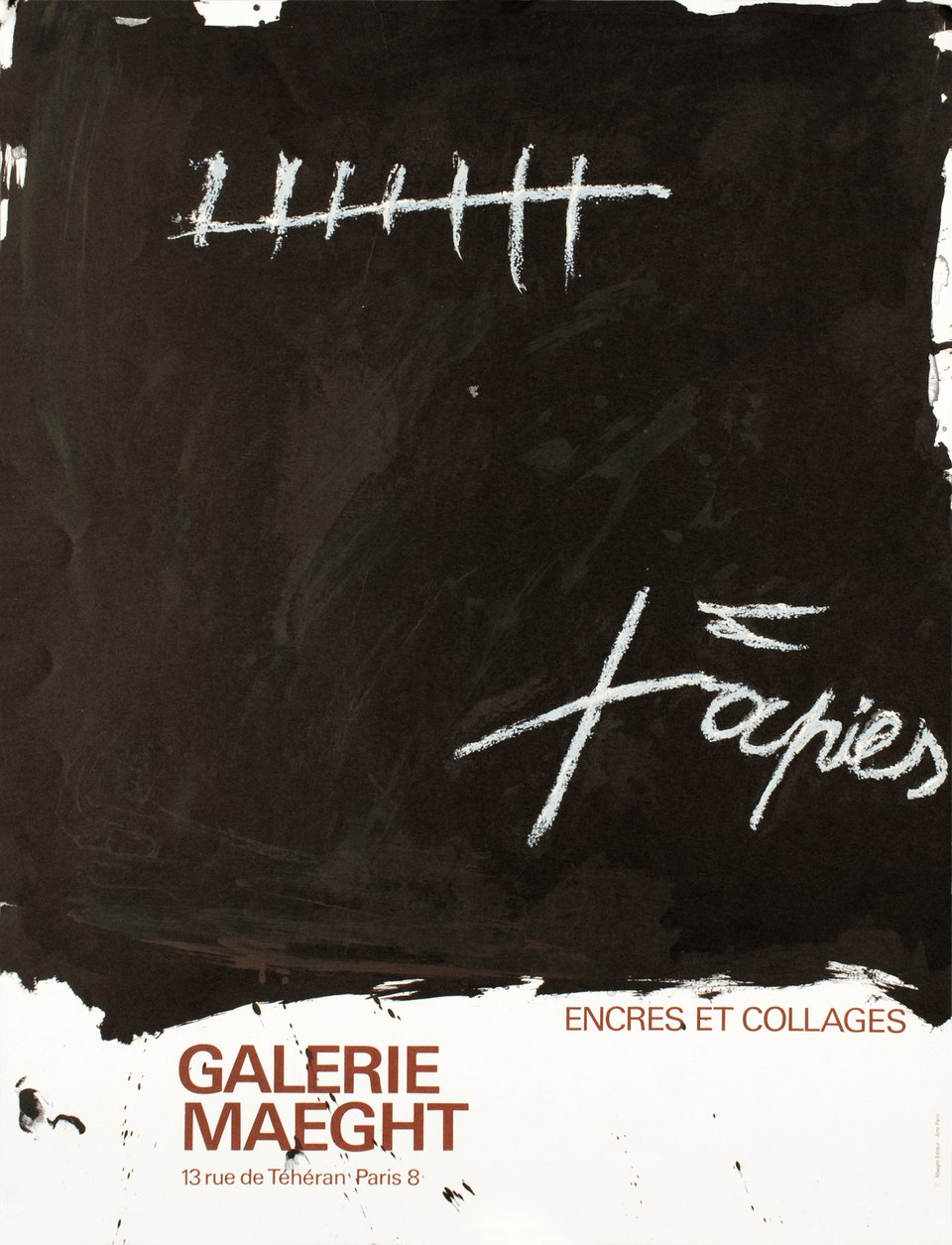 Tapies, encres et collages, Galerie Maeght – Affiche ancienne – Antoni TAPIES – 1968