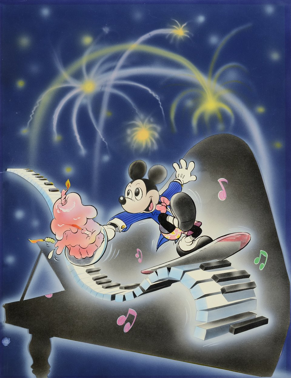 Happy Birthday, Mickey au piano Walt Disney – Vintage poster – Walt DISNEY – 1985