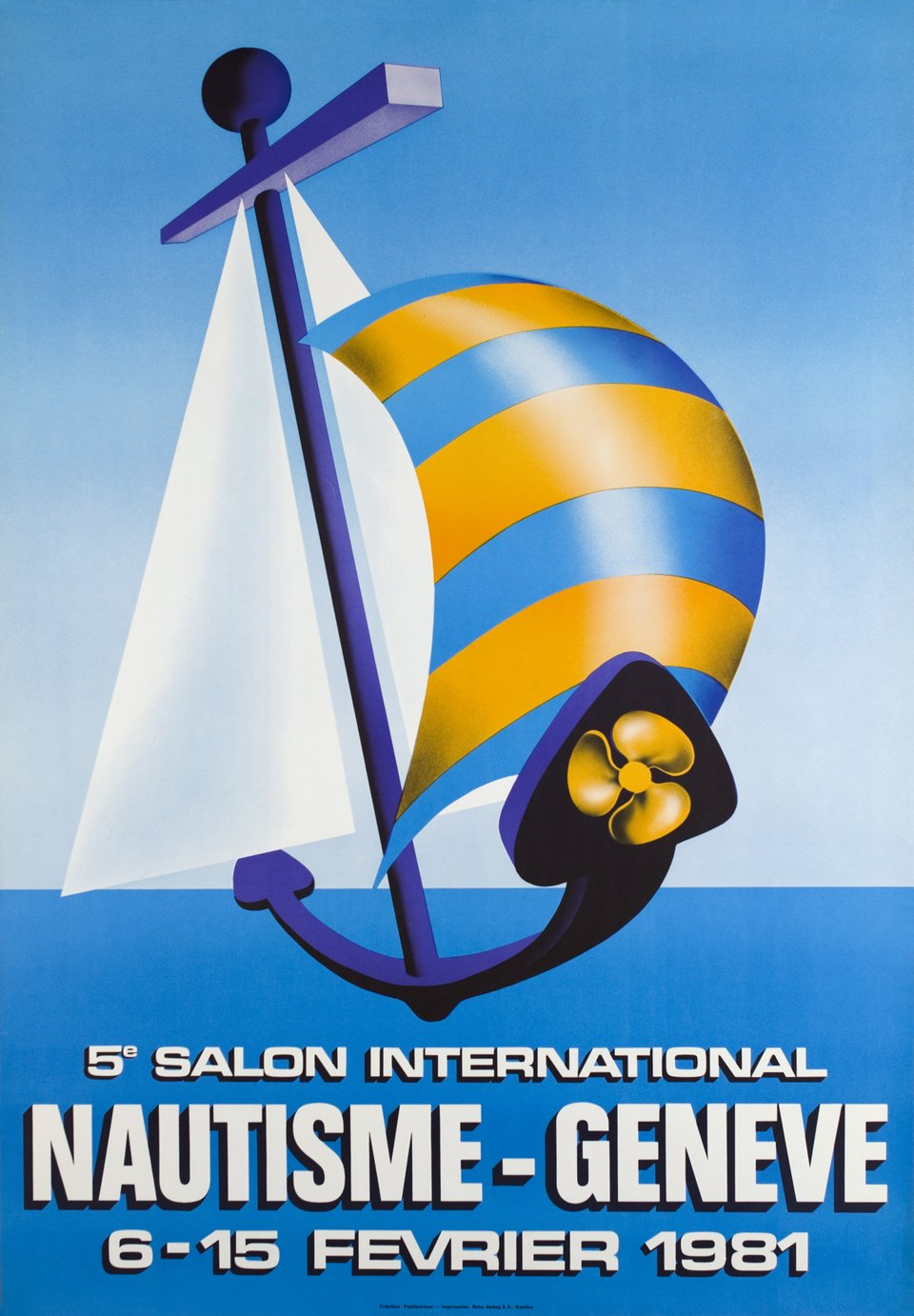 5e Salon International Nautisme, Genève – Vintage poster –  PUBLIPARTNER – 1981